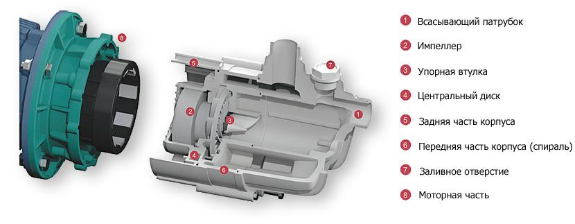 Внутреннее устройство центробежного химического самовсасывающего насоса Argal TMA-G2 10.14-GF