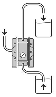 Работа в режиме самовсасывания пневматического диафрагменного насоса (мембранного насоса) Dellmeco DM-25/125-PTE