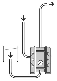 Работа при положительном давлении на всасывании (с подпором) пневматического диафрагменного насоса (мембранного насоса) Dellmeco DM-15/25-AET