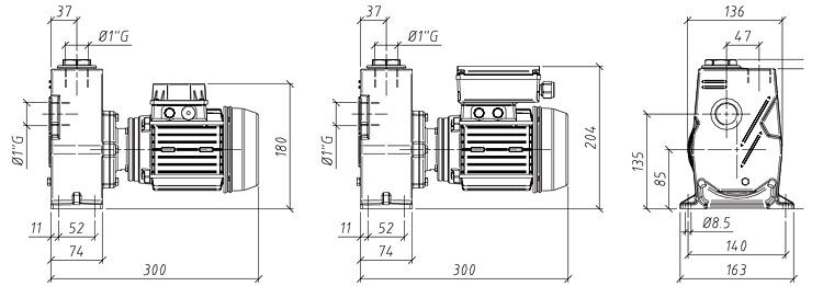 Габаритные размеры насоса GMP GP-3-7 (B0XR-A-0.25)