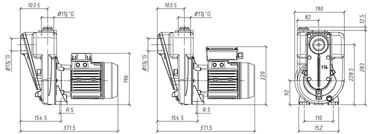 Габаритные размеры насоса GMP GP-18-16 (B11/2KQ-A-0.75)