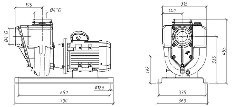 Габаритные размеры насоса GMP GP-100-16 (B4KQ-A-4)