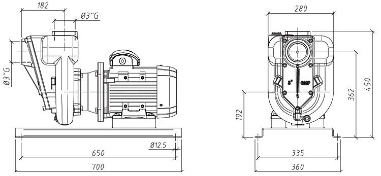 Габаритные размеры насоса GMP GP-78-26 (B3XR-A-4)