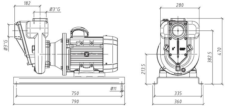 Габаритные размеры насоса GMP GP-86-26 (B3XR-A-5.5)