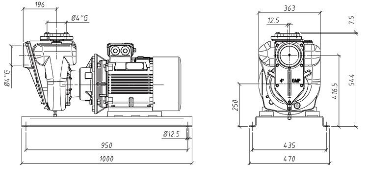 Габаритные размеры насоса GMP GP-137-34 (B4XR-A-15)