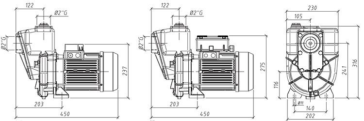 Габаритные размеры насоса GMP GP-24-33-HP (G2TMK-A-1.5)
