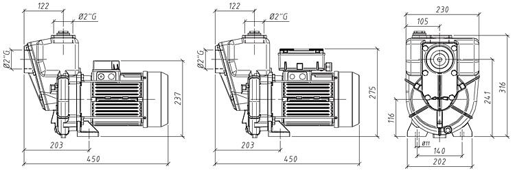 Габаритные размеры насоса GMP GP-25-33-HP (G2TMK-A-2.2)