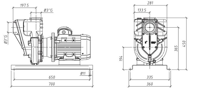 Габаритные размеры насоса GMP GP-50-35-HP (G3TMK-4)