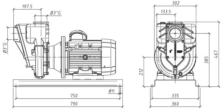 Габаритные размеры насоса GMP GP-55-40-HP (G3TMK-5.5)