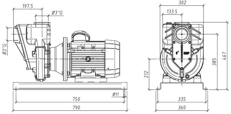 Габаритные размеры насоса GMP GP-56-45-HP (G3TMK-7.5)