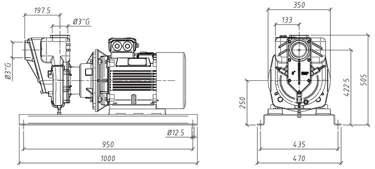 Габаритные размеры насоса GMP GP-68-55-HP (G3TMK-11)