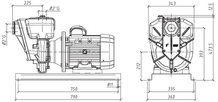 Габаритные размеры насоса GMP GP-36-58-HP (B11/2ZPM-7.5)