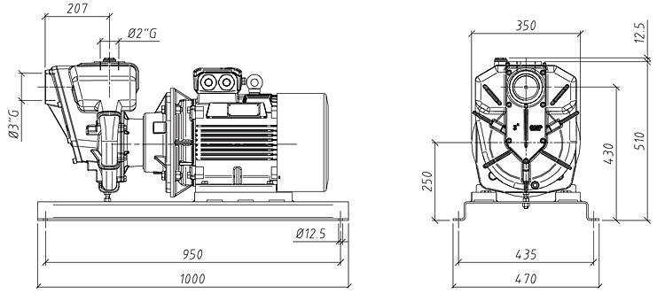 Габаритные размеры насоса GMP GP-50-68-HP (B2ZPM-15)