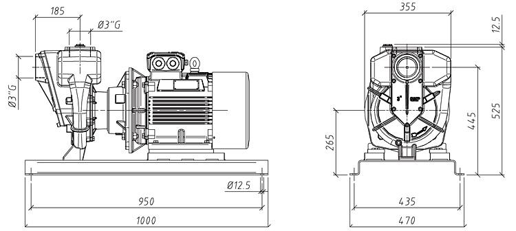 Габаритные размеры насоса GMP GP-75-70-HP (B3ZPM-18.5)