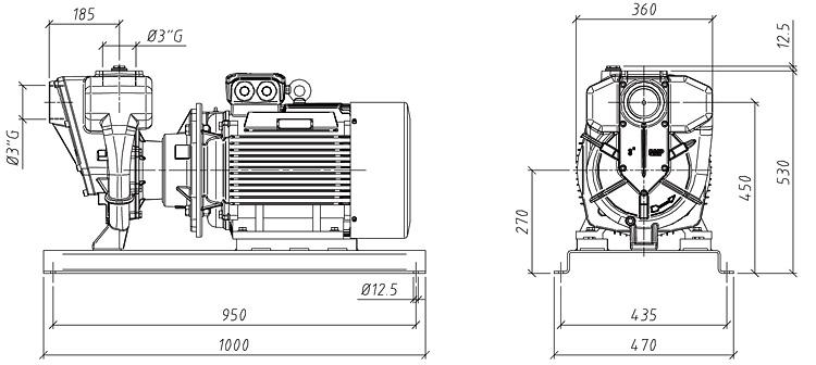 Габаритные размеры насоса GMP GP-75-80-HP (B3ZPM-22)