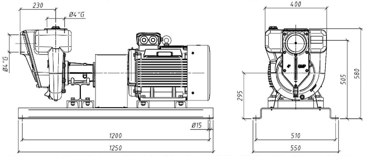 Габаритные размеры насоса GMP GP-100-60-HP (B4ZPM-22)