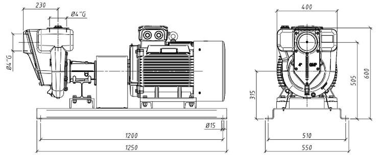 Габаритные размеры насоса GMP GP-100-65-HP (B4ZPM-30)