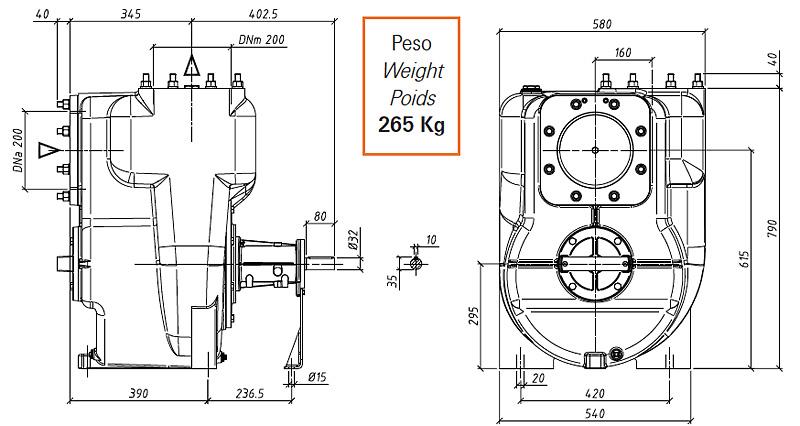 Габаритные размеры насоса GMP GP-450-17 (B8XR-A-1450-30)