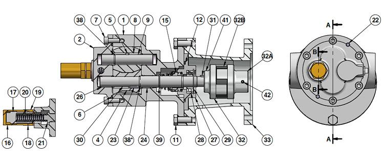 Внутреннее строение шестерённого насоса Varisco G38