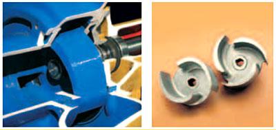 Varisco J. Рабочее колесо (импеллер) открытого типа из ковкого чугуна, сплава алюминия и бронзы или нержавеющей стали позволяет перекачивать жидкости с твердыми включениями большого диаметра до 76 мм.