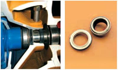 Varisco J. Осевое механическое уплотнение смазывается снаружи. Может работать в сухом состоянии, обеспечивая достижение максимальной степени вакуума, даже при перекачивании сильно абразивных жидкостей. Уплотнения из карбида кремния или вольфрама (возможно изготовление с вращающейся стороной из графита для перекачивания нефтепродуктов). По запросу возможно оборудование насоса двойным уплотнением или уплотнением-картриджем.