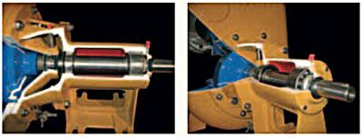 Мощные опорные подшипники позволяют присоединять привод через клиноременную передачу. Конец вала с резьбовым отверстием обеспечивает легкую установку соединительных муфт или шкивов.