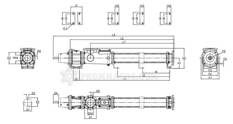 Габаритные размеры винтового насоса Varisco Vulcan 04-024 с фланцевым присоединением