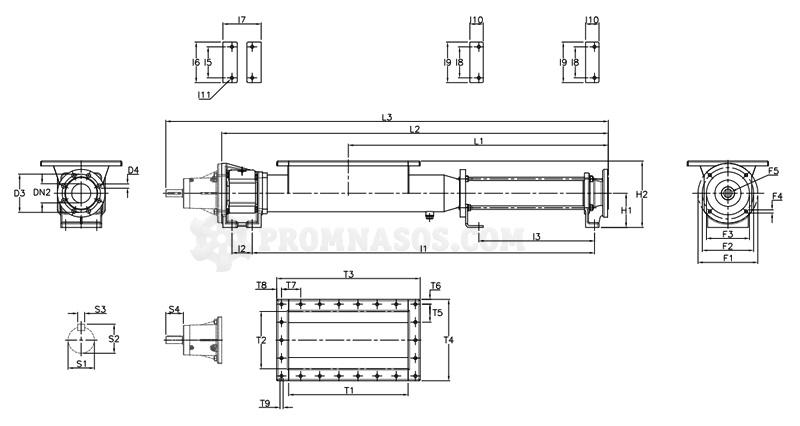 Габаритные размеры винтового насоса Varisco Vulcan 24-003 c загрузочным бункером